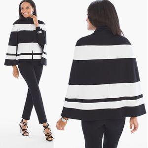 Chico's Black & White Striped Blazer Cape Jacket